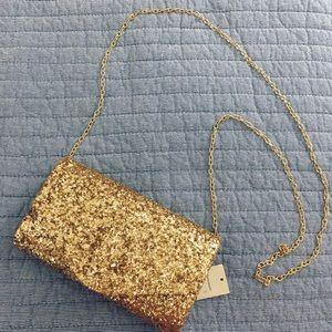 Francesca's glitter handbag/clutch gold NWT